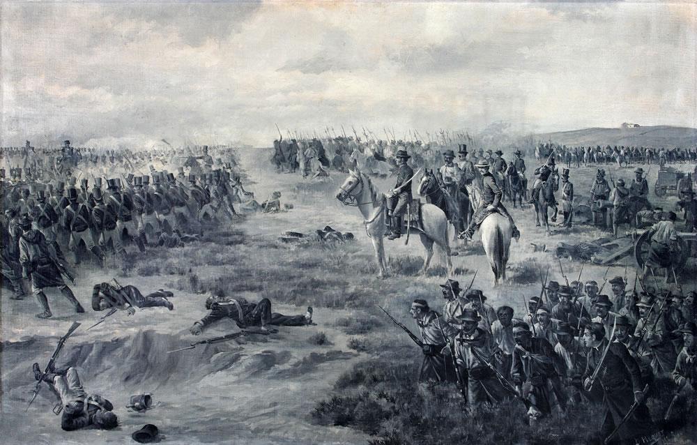 Batalla de Las Piedras - óleo de Diógenes Hequet